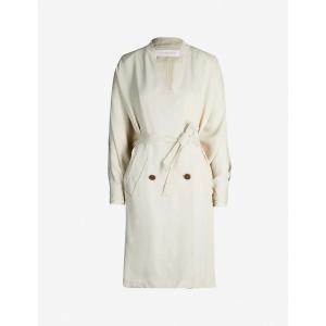 クロエ SEE BY CHLOE レディース トレンチコート アウター V-neck oversized double-breasted twill trench coat Dark ivory fermart3-store