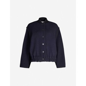 クロエ SEE BY CHLOE レディース ブルゾン アウター Textured wool-blend bomber jacket Ink navy fermart3-store