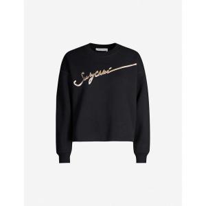 クロエ SEE BY CHLOE レディース スウェット・トレーナー トップス logo-print cotton-jersey sweatshirt Black|fermart3-store