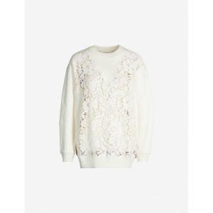クロエ SEE BY CHLOE レディース スウェット・トレーナー トップス floral-pattern lace cotton-jersey sweatshirt Crystal white|fermart3-store