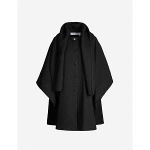 クロエ SEE BY CHLOE レディース ポンチョ アウター sleeveless asymmetric-hem wool-blend cape Greeb black fermart3-store