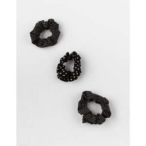 フルティルト FULL TILT レディース ヘアアクセサリー 3 Pack Polka Dot & Stripe Scrunchies BLACK|fermart3-store