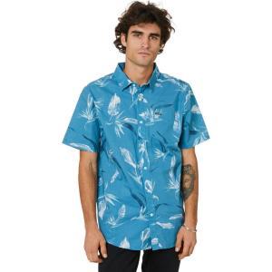 ボルコム Volcom メンズ 半袖シャツ トップス Warbler Ss Woven Stormy blue|fermart3-store