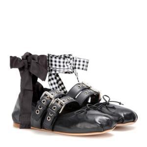 ミュウミュウ Miu Miu レディース フラット シューズ・靴 Buckle-embellished leather ballerinas|fermart3-store
