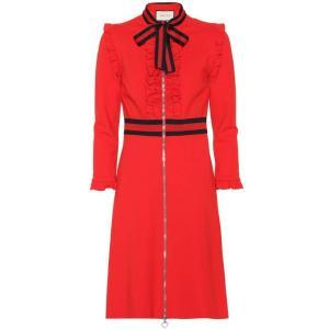 グッチ レディース ワンピース ワンピース・ドレス Crepe-jersey dress Intensive Red/Blue/Red|fermart3-store