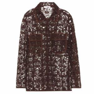 クロエ レディース ジャケット アウター Long sleeve floral lace jacket Authentic Brown fermart3-store