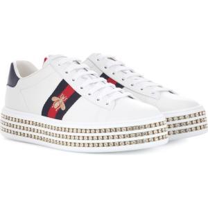 グッチ レディース スニーカー シューズ・靴 Ace platform leather sneakers Bianco/Crystals|fermart3-store