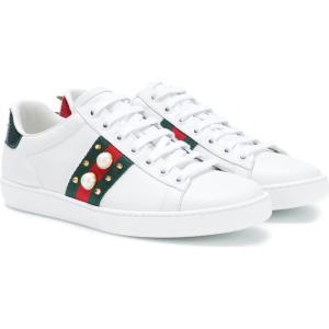 グッチ レディース スニーカー シューズ・靴 Ace embellished leather sneakers Bianco|fermart3-store