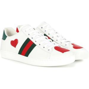 グッチ レディース スニーカー シューズ・靴 Ace snakeskin-trimmed leather sneakers Bian/H.Red/Vrv/R.F/V|fermart3-store