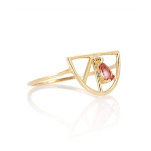 アリータ レディース 指輪・リング ジュエリー・アクセサリー Media Naranja 9kt yellow gold and pink tourmaline ring|fermart3-store