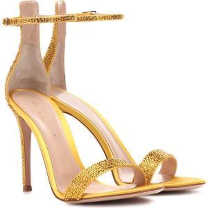 ジャンヴィト ロッシ レディース サンダル・ミュール シューズ・靴 Glam embellished satin sandals Sunflower|fermart3-store