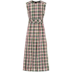 バーバリー レディース ワンピース ワンピース・ドレス Sleeveless checked dress Pine Green|fermart3-store