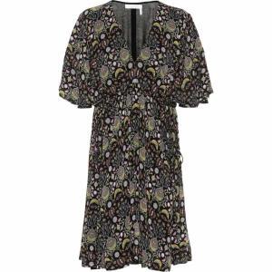 クロエ Chloe レディース ワンピース ワンピース・ドレス Printed crepe dress Black/Yellow|fermart3-store