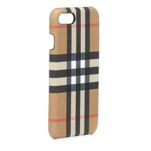 バーバリー Burberry レディース iPhone (8)ケース Checked leather iPhone 8 case Black|fermart3-store