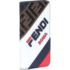 フェンディ Fendi レディース iPhone (X)ケース FENDI MANIA leather iPhone X case B.Berry+Bco+Mlc|fermart3-store