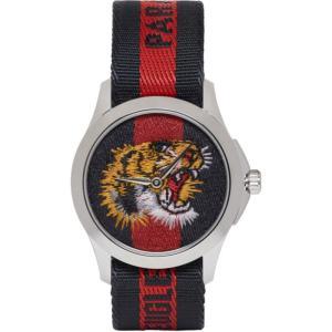 グッチ メンズ 腕時計 Navy & Red G-Timeless 'L'Aveugle Par Amour' Tiger Watch|fermart3-store