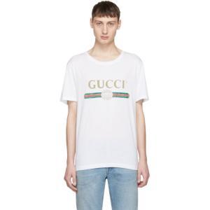 グッチ メンズ Tシャツ トップス White Classic Logo T-Shirt|fermart3-store