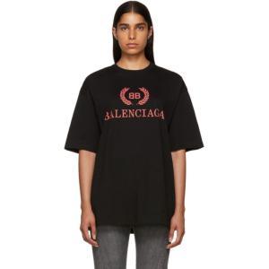 バレンシアガ レディース Tシャツ トップス Black Oversized Classic BB T-Shirt|fermart3-store