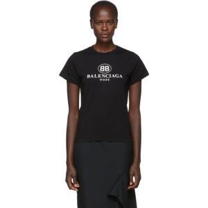 バレンシアガ レディース Tシャツ トップス Black 'BB Mode' Semi Fitted T-Shirt|fermart3-store