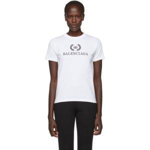 バレンシアガ レディース Tシャツ トップス White BB Crown Logo T-Shirt|fermart3-store