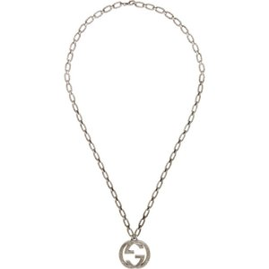 グッチ メンズ ネックレス ジュエリー・アクセサリー Silver Interlocking GG Necklace|fermart3-store