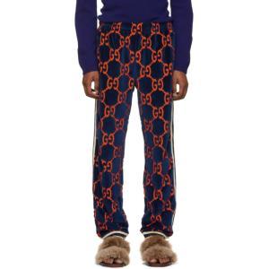 グッチ Gucci メンズ スウェット・ジャージ ボトムス・パンツ Navy GG Chenille Lounge Pants fermart3-store