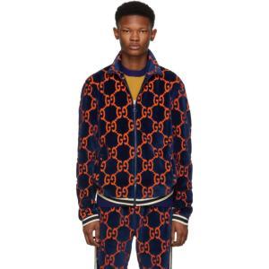 グッチ Gucci メンズ ジャージ アウター Blue Chenille GG Supreme Track Jacket|fermart3-store
