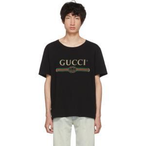 グッチ メンズ Tシャツ トップス Black Logo T-Shirt|fermart3-store
