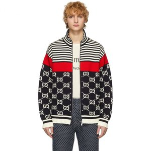 グッチ Gucci メンズ ジャケット アウター Navy & Off-White Knit GG Stripe Zip-Up Jacket|fermart3-store