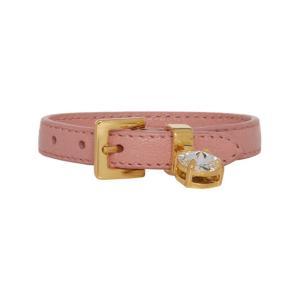 ミュウミュウ Miu Miu レディース ブレスレット ジュエリー・アクセサリー Pink Madras Leather Bracelet|fermart3-store