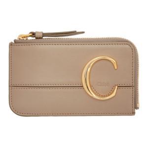 クロエ Chloe レディース カードケース・名刺入れ Grey ' C' Small Card Holder Motty grey|fermart3-store