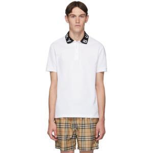 バーバリー Burberry メンズ ポロシャツ トップス White Intarsia Logo ...
