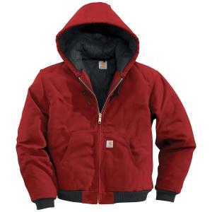 カーハート メンズ ジャケット アウター Carhartt Quilted Flannel Lined Duck Active Jacket Red fermart3-store