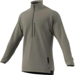アディダス メンズ フリース トップス Adidas Terrex Tivid 1/2 Zip Fleece Top Trace Cargo fermart3-store