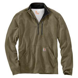 カーハート メンズ スウェット・トレーナー トップス Carhartt Force Extremes Mock Neck Half-Zip Sweatshirt Burnt Olive Heather fermart3-store