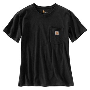 カーハート レディース Tシャツ トップス WK87 Workwear Pocket SS T-Shirt Black|fermart3-store