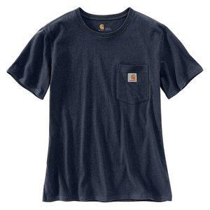 カーハート レディース Tシャツ トップス WK87 Workwear Pocket SS T-Shirt Navy|fermart3-store