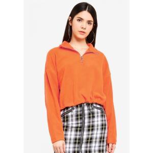 ファクトリエ Factorie レディース フリース トップス Crop Qtr Zip Polar Fleece Red Orange fermart3-store