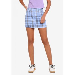 ファクトリエ Factorie レディース ミニスカート スカート Zip Front A Line Skirt Blue Check fermart3-store