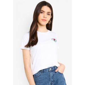 ファクトリエ Factorie レディース Tシャツ トップス Basic Graphic T Shirt White Rose Heart Emb fermart3-store