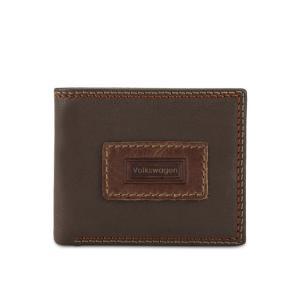 フォルクスワーゲン Volkswagen メンズ 財布 Genuine Leather Bi-Fold Wallet Dark Brown|fermart3-store