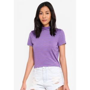 ファクトリエ Factorie レディース Tシャツ トップス Short Sleeve High Neck Top Tillandsia Purple fermart3-store