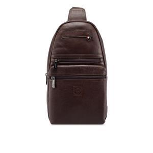 フォルクスワーゲン Volkswagen メンズ ショルダーバッグ バッグ Genuine Leather Chest Bag Dark Brown|fermart3-store