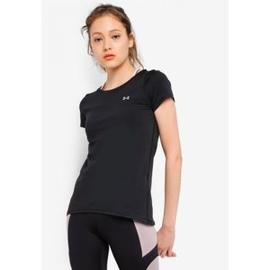 アンダーアーマー Under Armour レディース Tシャツ トップス UA HG Armour Short Sleeve Tee Black/Metallic Silver fermart3-store