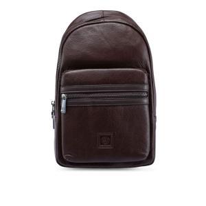 フォルクスワーゲン Volkswagen メンズ メッセンジャーバッグ バッグ Genuine Leather Chest Bag Dark Brown|fermart3-store