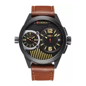 カレン メンズ 腕時計 Curren 8249 Dual Time Double Movements Black Yellow Dial Brown Genuine Leather Strap Analog Watch with Date brown|fermart3-store