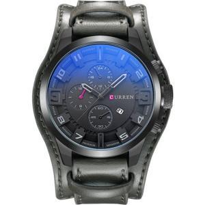 カレン curren メンズ 腕時計 Original CURREN 8225 Sports Full Leather Strap Date Watch (Full grey) Grey fermart3-store