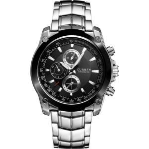 カレン curren メンズ 腕時計 Curren 8025 Business Casual Stainless Steel Classic Watch (Black) Black fermart3-store