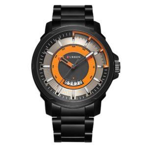 カレン curren メンズ 腕時計 Curren 8229 Contra Dial Orange Black Stainless Steel Strap Analog Watch with Date Orange fermart3-store