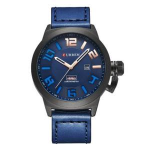カレン curren メンズ 腕時計 Curren 8270 Chronometer Blue Dial Genuine Leather Strap Analog Watch with Date & Day Blue fermart3-store